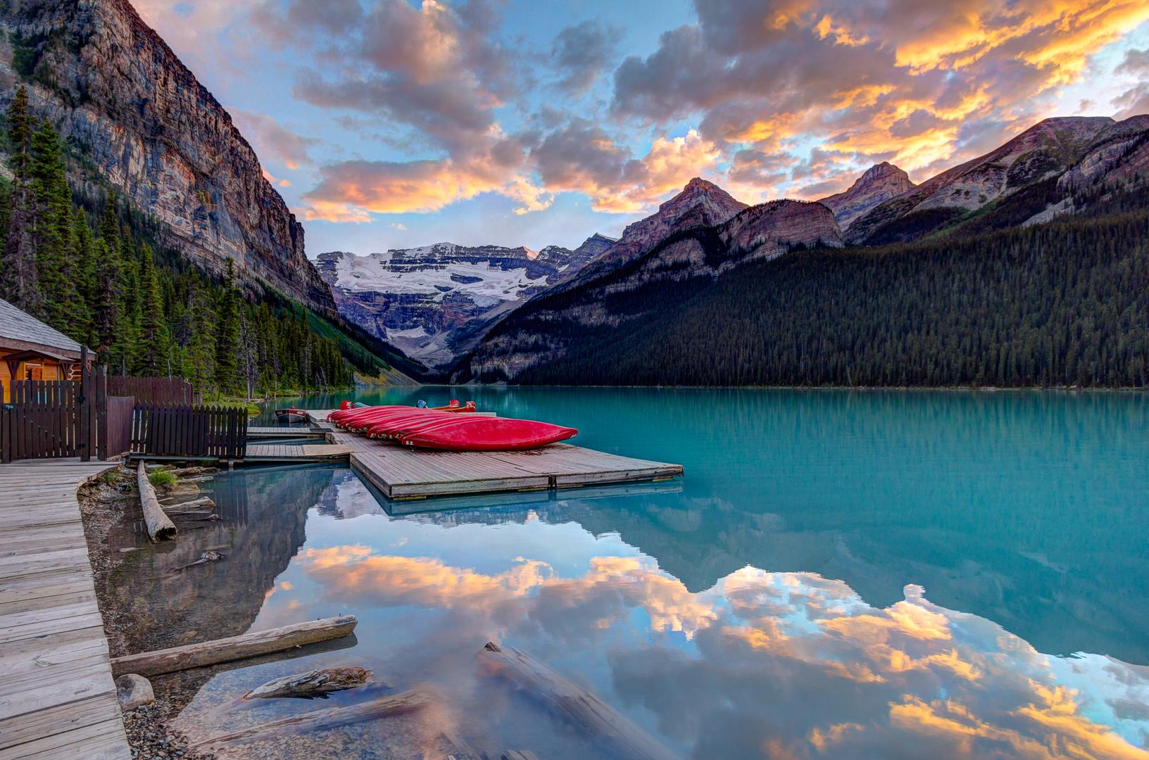 Canoes at Lake Louise, Canada