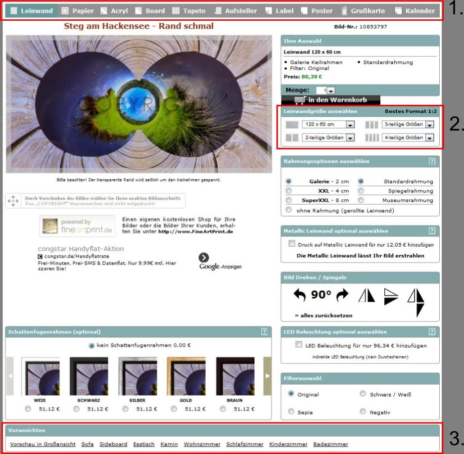 Bildershop Herdima - Bildseite (Auswahl einer Variante)